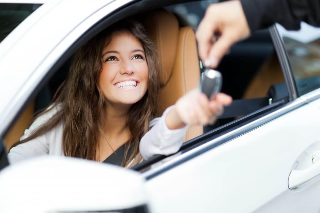 Woman taking a test drive