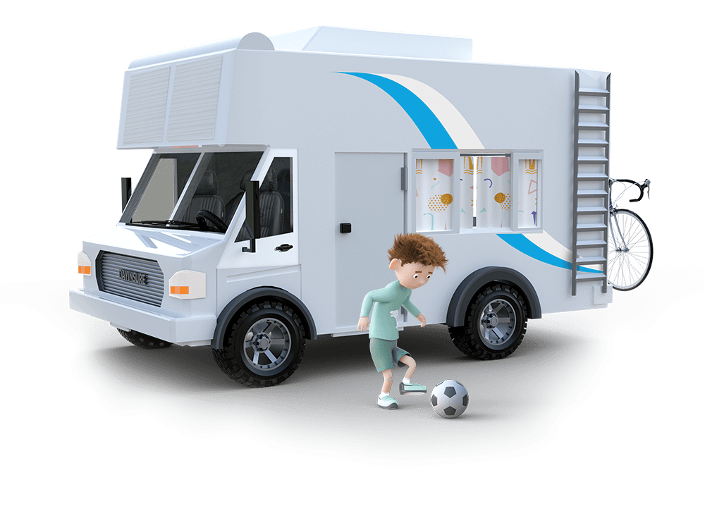 Dayinsure boy playing in front of motorhome