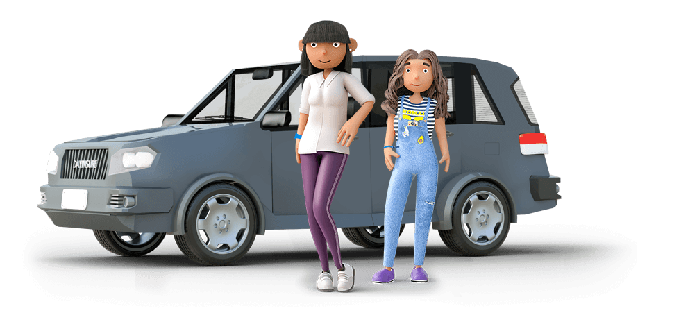 Mum and Daughter standing by a car