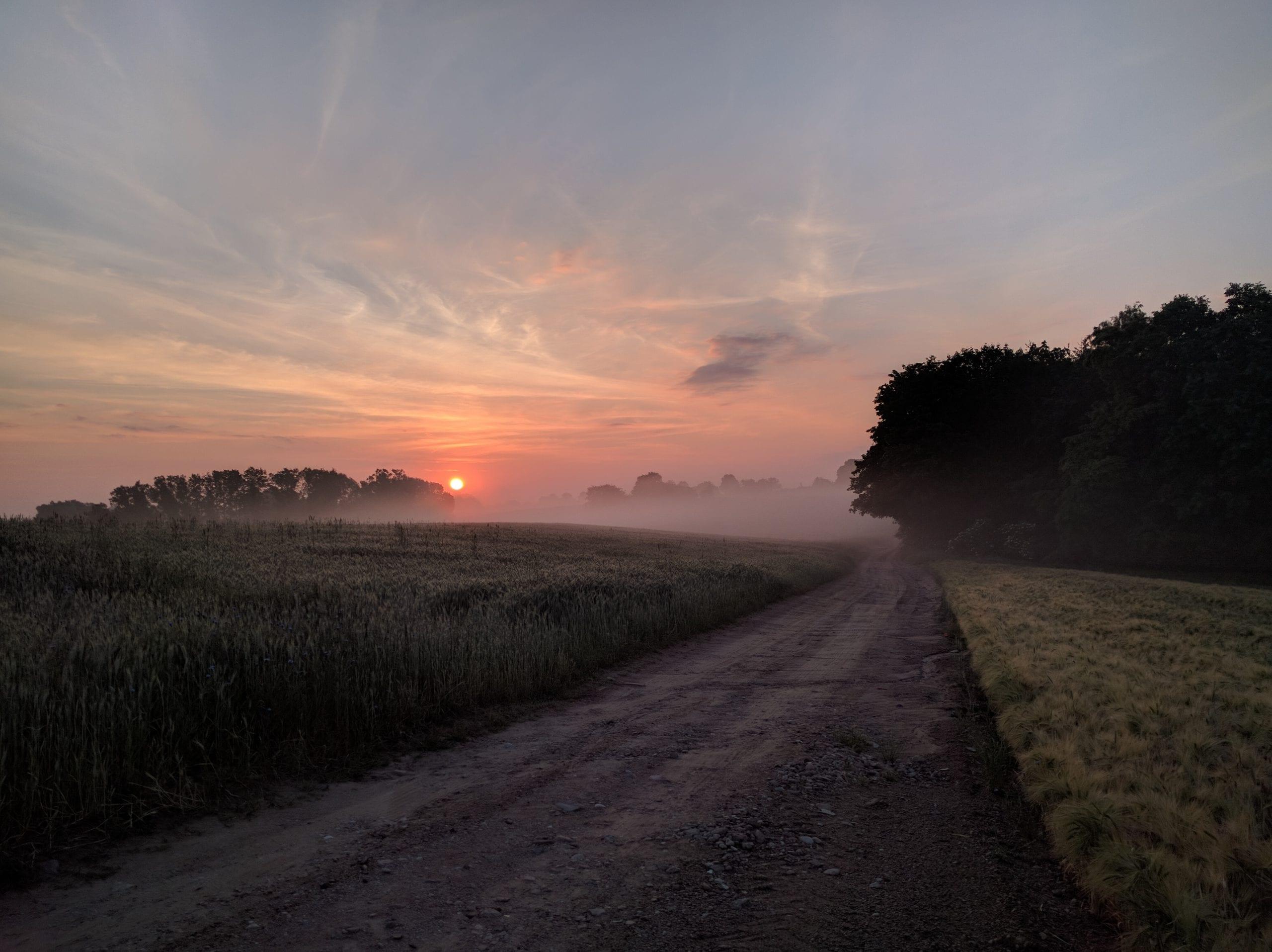 Gravel road in Poland at dusk