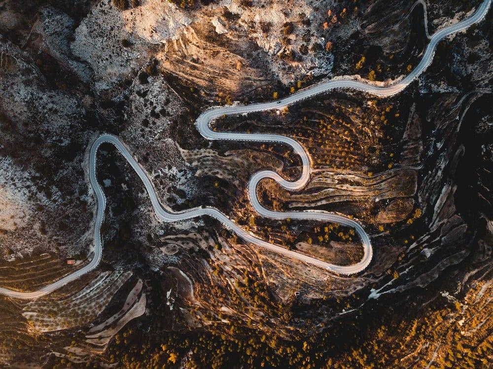 Winding mountain road in Spain
