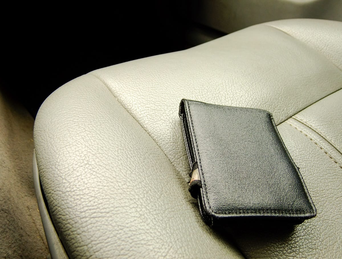 Wallet on car seat
