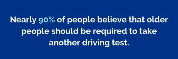 Nearly 90% of people believe that older people should be required to take another driving test | Dayinsure