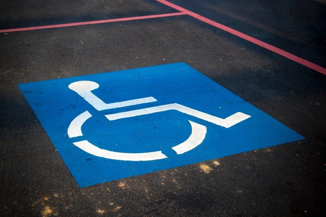A disabled blue badge parking space