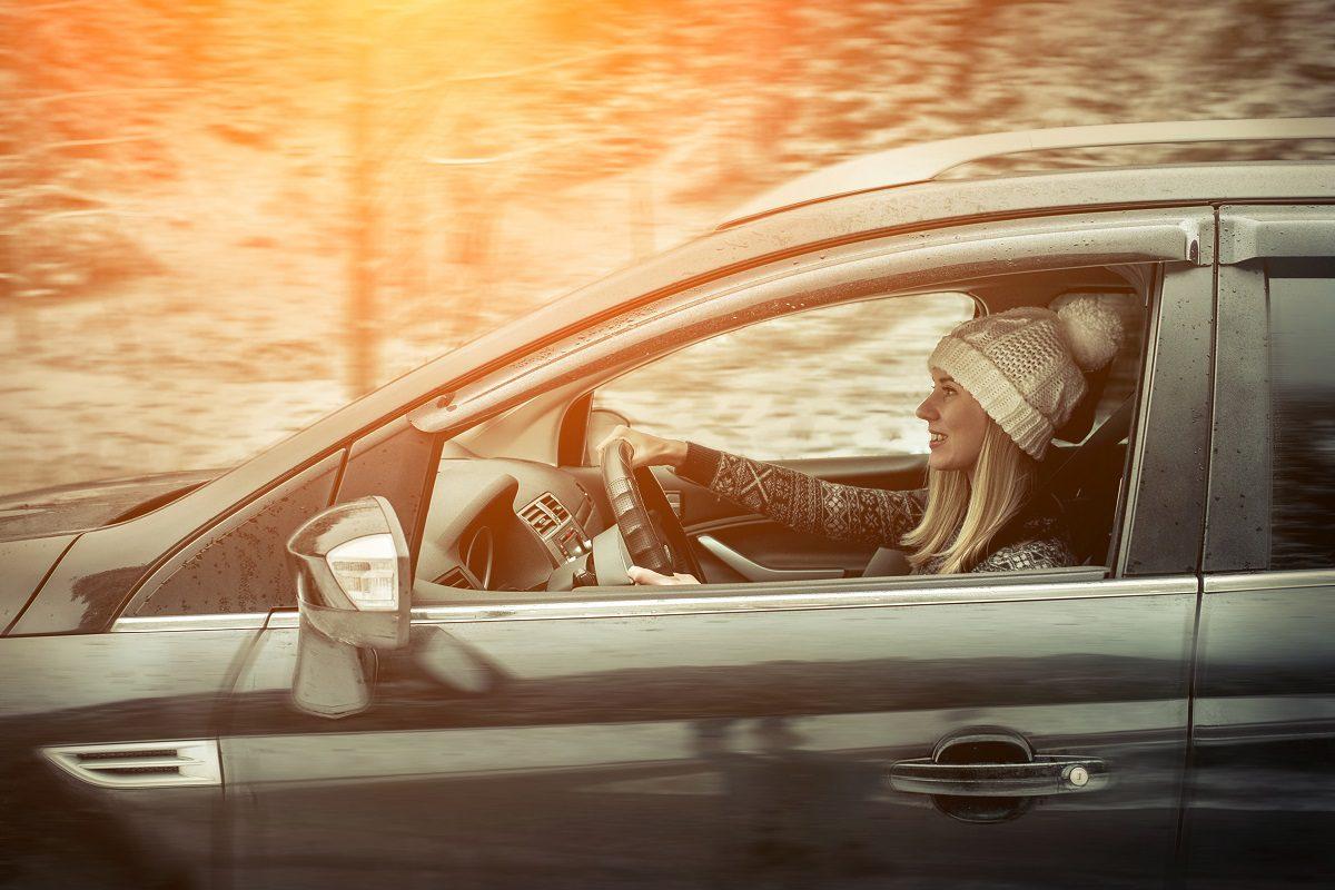 Woman driving home for Christmas