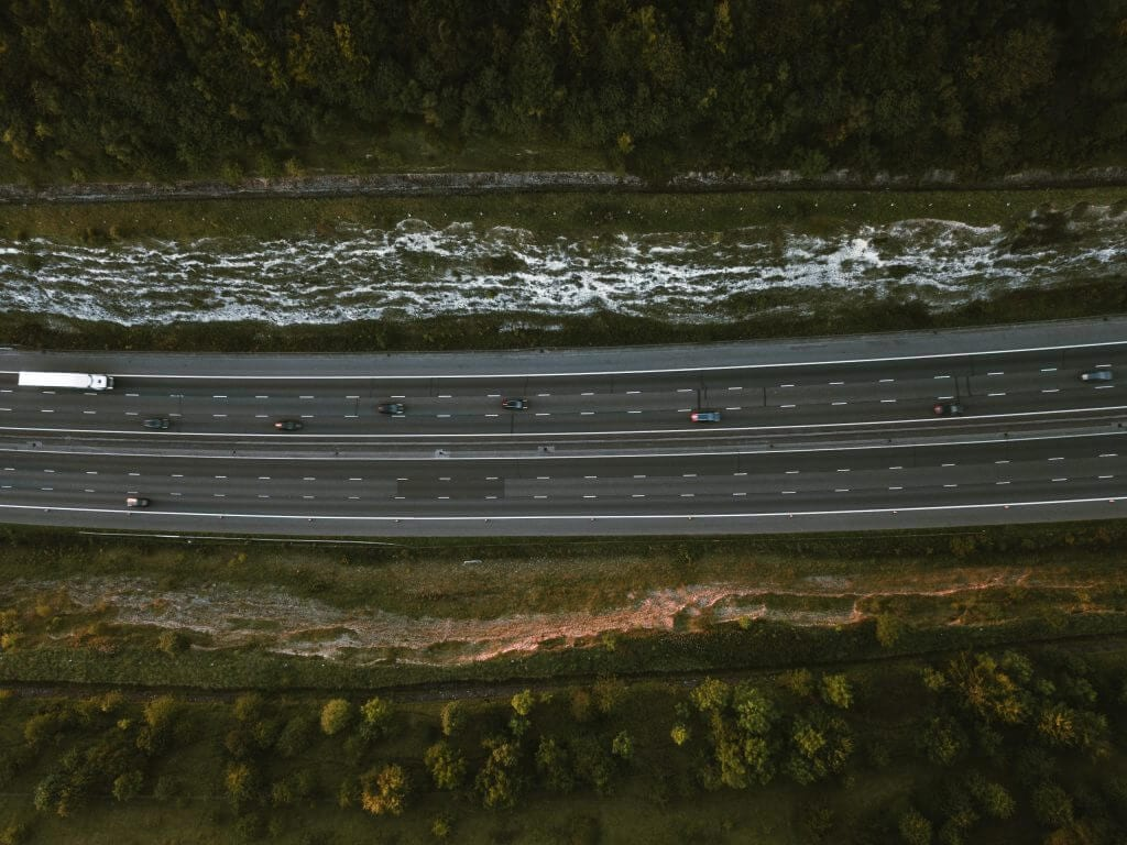 Cars driving on a motorway from above