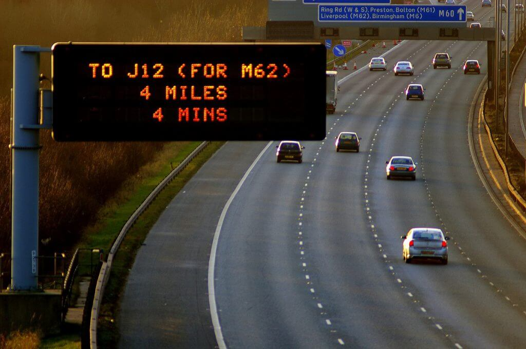 Electric signage over motorway