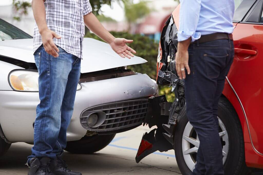 Two men in a car accident