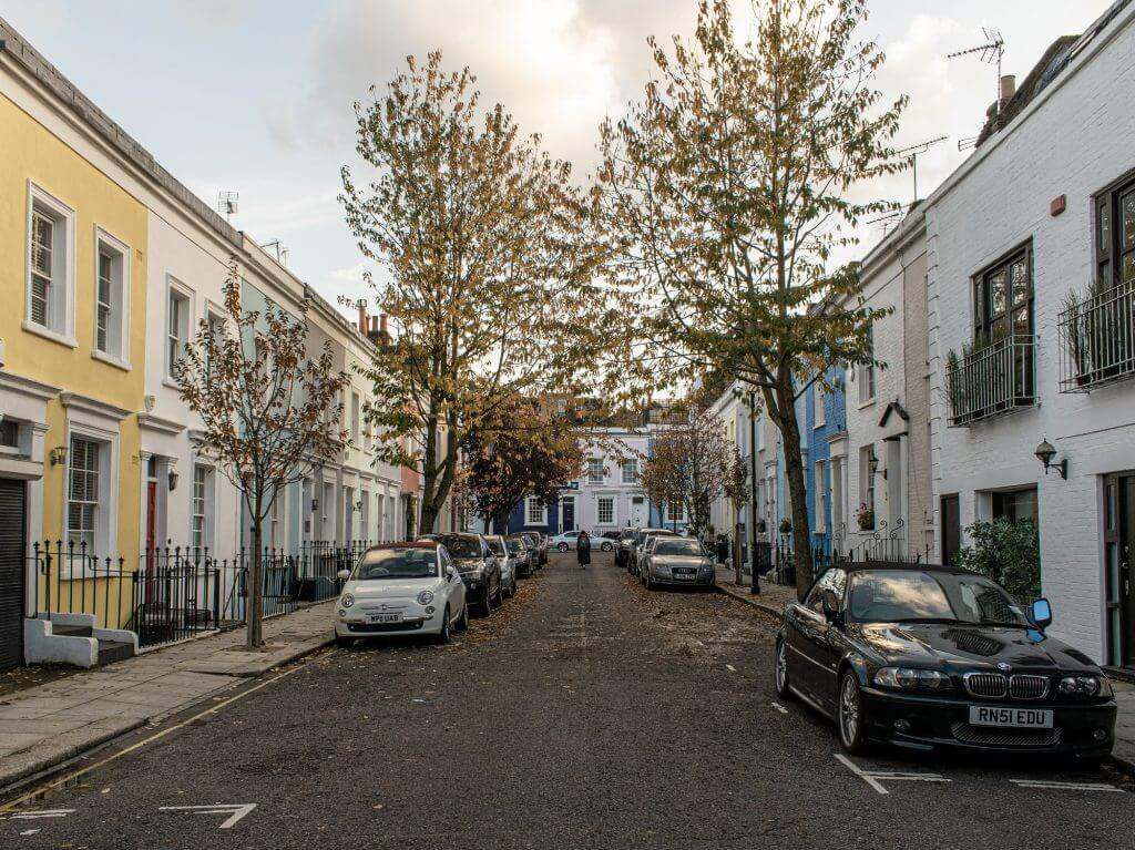 UK street with parked cars