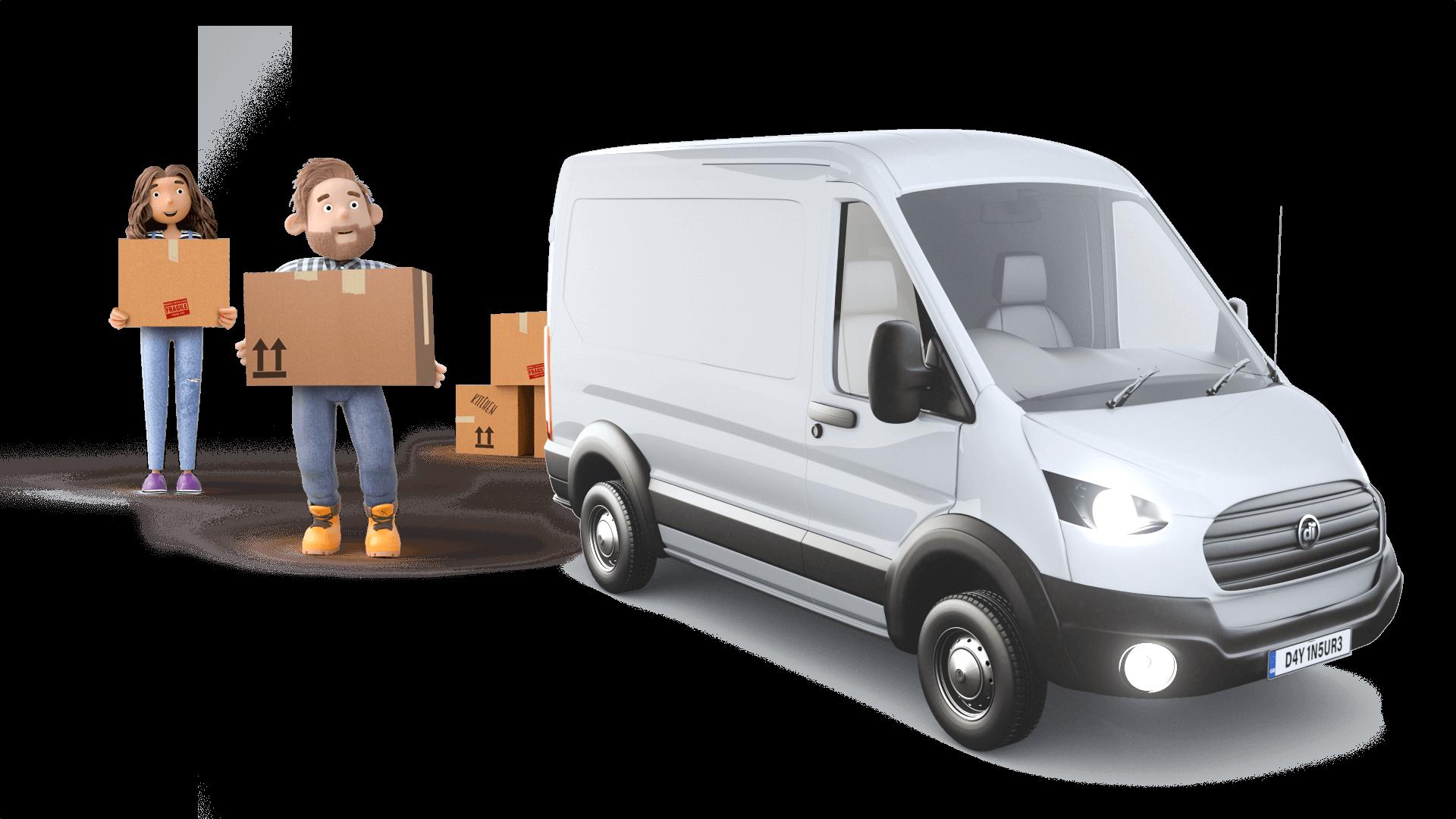Dayinsure Dad and Daughter loading White Van