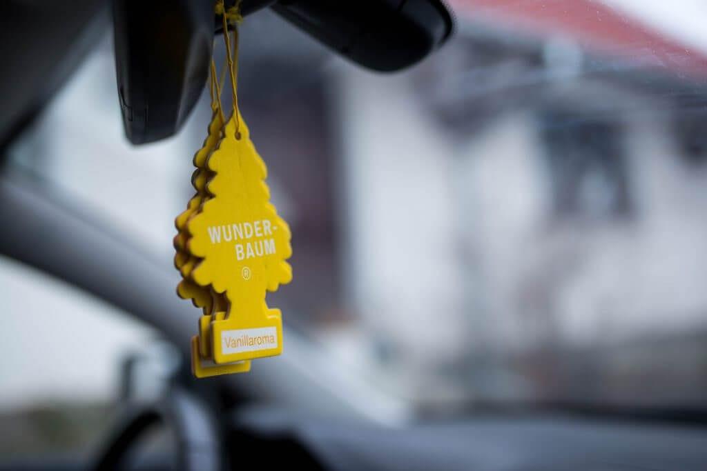 Yellow car air freshener