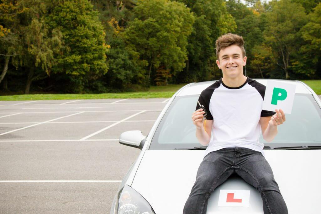 Young driver with P Plate