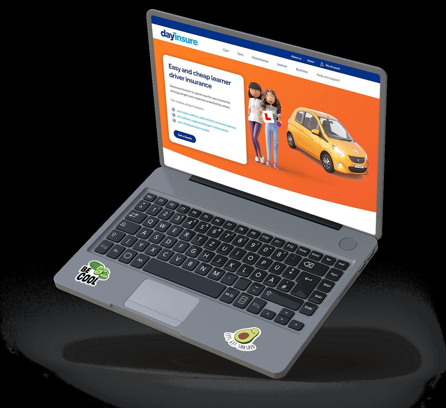 Dayinsure Learner Insurance on Laptop